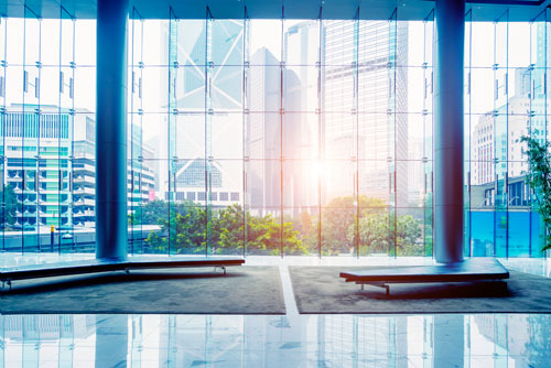 clean windows in an office interior